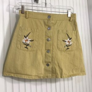 Yellow Embroidered Denim Button Front Skirt
